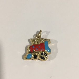 Jewelry - 14k Yellow Gold Train 🚂 Puffed Charm With Enamel